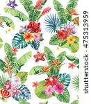 seamless pattern with palm... | Shutterstock .eps vector #475313959
