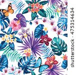 seamless pattern with palm... | Shutterstock .eps vector #475314634