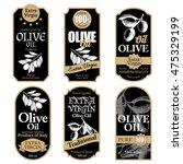 set of black olive oil labels... | Shutterstock .eps vector #475329199