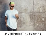 young man in baseball cap ... | Shutterstock . vector #475330441