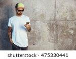 young man in baseball cap ...   Shutterstock . vector #475330441