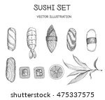 sushi vector set. sushi with... | Shutterstock .eps vector #475337575