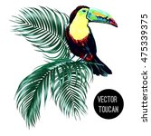 toucan  palm leaves  jungle... | Shutterstock .eps vector #475339375