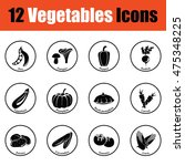 vegetables icon set.  thin...