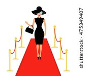red carpet and rope barrier... | Shutterstock .eps vector #475349407