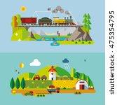 set of different landscapes in...   Shutterstock .eps vector #475354795