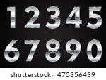 set of metal chrome numbers... | Shutterstock .eps vector #475356439