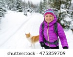 woman hiking in white winter... | Shutterstock . vector #475359709