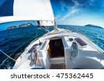 sailing vessel moving in the sea | Shutterstock . vector #475362445