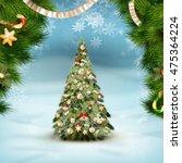 christmas fir tree on winter... | Shutterstock .eps vector #475364224