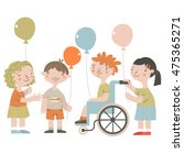 handicapped kids with friends.... | Shutterstock .eps vector #475365271
