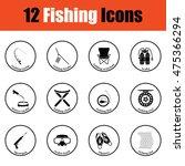 fishing icon set.  thin circle...