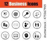 business icon set. thin circle...