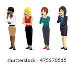 manga elegant woman poses set 4   Shutterstock .eps vector #475370515