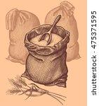 bag of flour. hand drawn...   Shutterstock .eps vector #475371595