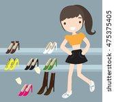 shopping girl | Shutterstock .eps vector #475375405