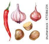 watercolor vegetables garlic... | Shutterstock . vector #475386154