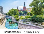 Small photo of MOSCOW, RUSSIA - JUNE 23, 2016: View of the Alexander Garden near Moscow Kremlin and fountain on Manezh Square at summer sunny day