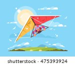 man on a hang glider | Shutterstock .eps vector #475393924
