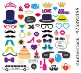set of wedding photo booth props | Shutterstock .eps vector #475395199