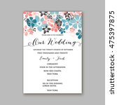 wedding invitation template or... | Shutterstock .eps vector #475397875