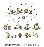 pajama party card. sleepover... | Shutterstock .eps vector #475421419