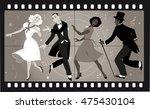 people in retro stile costumes... | Shutterstock .eps vector #475430104