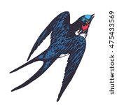 vector hand drawn swallow bird... | Shutterstock .eps vector #475433569