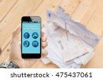 hand holding smart phone online ... | Shutterstock . vector #475437061