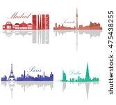 set of skylines  madrid ...   Shutterstock .eps vector #475438255