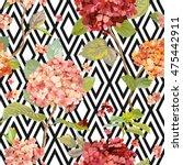 vintage hortensia flowers  ... | Shutterstock .eps vector #475442911