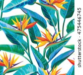 seamless tropical pattern with... | Shutterstock .eps vector #475446745