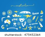 yellow and white australia icon ...   Shutterstock .eps vector #475452364