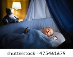 adorable baby sleeping in blue... | Shutterstock . vector #475461679