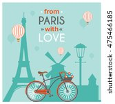 light blue paris post card with ... | Shutterstock .eps vector #475466185