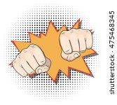 punching fists. pop art comic...   Shutterstock .eps vector #475468345