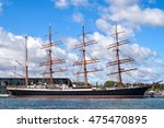 Small photo of ROSTOCK, GERMANY - AUGUST 2016: Four-master sailing ship Sedov