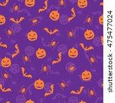 seamless violet halloween... | Shutterstock .eps vector #475477024
