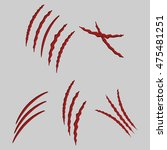 animal claws cat scratches on... | Shutterstock . vector #475481251