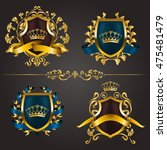set of golden royal shields. | Shutterstock .eps vector #475481479