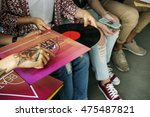friends listening music vintage ... | Shutterstock . vector #475487821