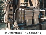 army vest with a walkie talkie  ... | Shutterstock . vector #475506541