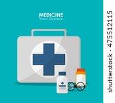 medical kit jar glasses health... | Shutterstock .eps vector #475512115