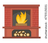 set of vector fireplace icons...