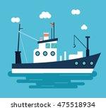 boat ship clouds sea ocen... | Shutterstock .eps vector #475518934