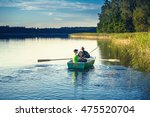 father and son catch fish from... | Shutterstock . vector #475520704