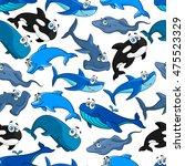 fish cartoon seamless pattern... | Shutterstock .eps vector #475523329