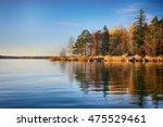 Lake And Autumn Trees. Colorfu...