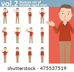 diverse set of middle aged man... | Shutterstock .eps vector #475537519