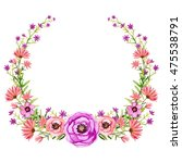 wreath with watercolor wild... | Shutterstock . vector #475538791